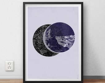 ON SALE Poster Astronomy Moonscape Vintage Collage Art