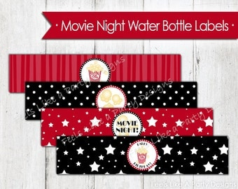 Movie Night Water Bottle Wrappers - Instant Download