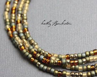 Gold Copper Seed Bead Necklace, Long Seed Bead Necklace, Layering Necklaces, Gold Necklaces, Kathy Bankston, Beaded Necklace