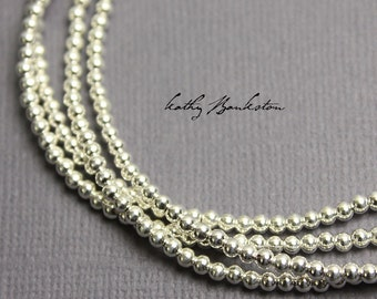 Silver Bead Necklace, Single Strand Silver Necklace, Sterling Silver 2.5mm Bead Necklace, Beaded Necklace, Layering Necklace, Kathy Bankston