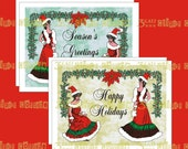 Two Edwardian Santa Women - Christmas Greeting Cards & Envelope Template Instant Digital Download
