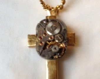 Cross Necklace, steampunk