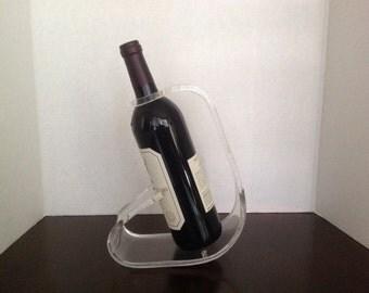 Acrylic wine holder, 70s Modern / clear acrylic wine bottle holder / wine caddy/ swanky bar accessory / a great housewarming gift