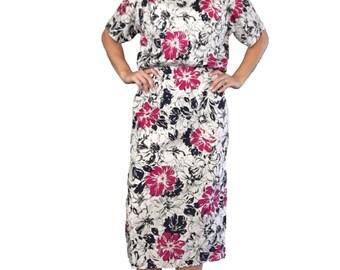 Floral Dress/ Pink Floral Dress/ White Floral Dress/ Blue Floral Dress/ Pencil Dress/ Silky Dress/ Silky Floral Dress/ Summer Dress