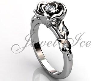 Flower Engagement Ring - 14k white gold diamond unique flower engagement ring, wedding ring, anniversary ring ER-1110-1