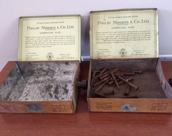 A pair of Vintage Philip Morris Cigarette Metal Tin Boxes