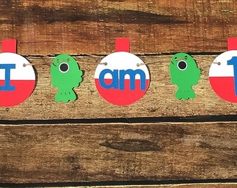 Fishing I am 1 Banner// Birthday// One//First Birthday/Boy//Photo Prop//Banner//Other Numbers Available