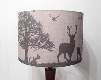 Linen lampshade, gray, drum animals lampshade,