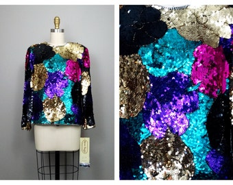 VTG Art Deco Sequined Beaded Floral Trophy Blouse / Bright Sequin Top
