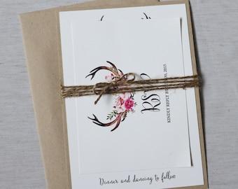 Rustic Wedding Invitation, Antler Wedding invitation, Floral Rustic Wedding Invitation, Country Wedding Invitation, Woodland Wedding