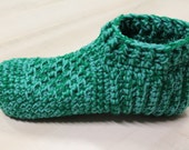 CUTSOM ORDER of Green & White Slippers for Dolores, Men's Crochet Slippers, Women's House Shoes, Washable Indoor Socks, Thick Adult Booties