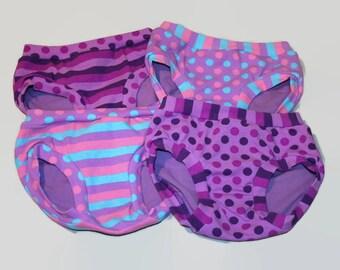 Made to Order - Four Pairs Children's Underwear - Brilliant Basics - Purple Dots and Stripes - Girls Undies