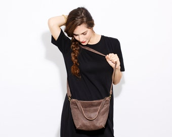 SALE Brown Leather purse - Small leather crossbody bag - Women handbag - Small leather purse -Leather purse crossbody -Mini Shiri  bag-Umber
