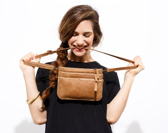 Small Leather Purse - Shoulder Bag - Leather CrossBody Bag - Three Leather pouches Bag - Leather Hip bag - Detachable Pouches  - Cinnamon