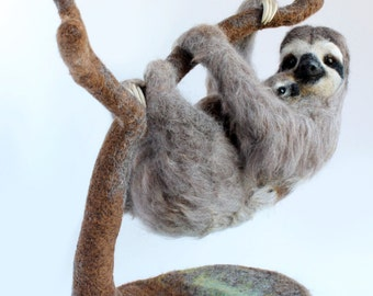READY TO SHIP, Needle Felted, Three-Toed Pygmy Sloth, Needle Felted Sloth Sculpture, Sloth Art