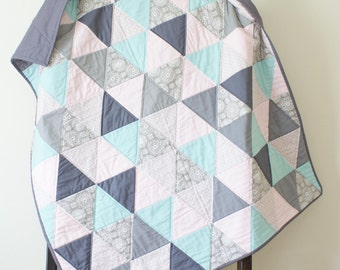 Triangle Quilt, Pink Gray Aqua Mint, Throw Cot Bed, Baby Toddler Girl, Modern Bedding, Geometric Print Blanket