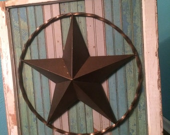Texas Star placed on Upcycled Rustic Beadboard Wood and Old Windowframe