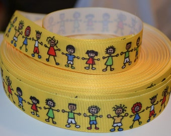 """Yellow Kids Holding Hands Unity 7/8"""" Grosgrain Ribbon for Hair Bows, Kids Crafts, Scrapbook Deco, Cards Making, Gift Wrapping"""