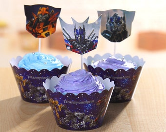 Robots Inspired Cupcake Wrappers and Cake Toppers Picks Birthday Party Decorations (Set of 12)