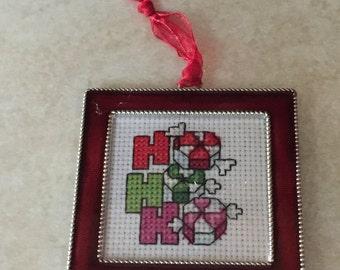 "Framed ""HO HO HO"" ornament"