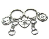 2 Partners In Crime Initial Handcuff Keychains, Best Friends Keychains, Sisters Keychains, Couples Keychains, Partners In Crime Keychains