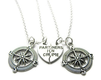 2 Partners In Crime Compass Necklaces, Best Friends Necklaces, Sisters Necklaces, Compass Necklaces, Friends Necklaces