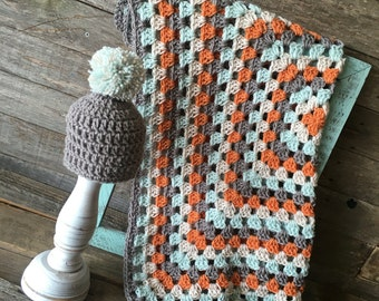 Crochet Granny Square Blanket Afghan Crochet Blanket Baby Blanket Baby Boy Blanket Baby Shower Gift Blue Grey Orange Linen Newborn Blanket
