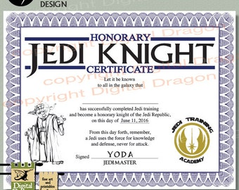 jedi knight certificate template - jedi certificate etsy