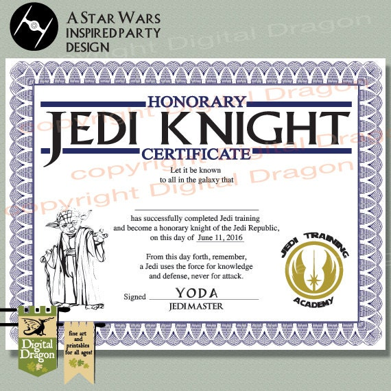Star wars jedi knight party certificate printable for Star wars jedi certificate template free