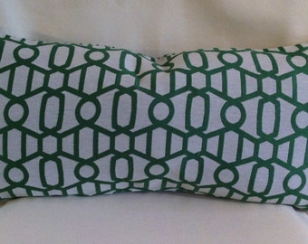 Pair of Lumbar Decorative Pillow Covers-Green/White Geometric Design Design-Accent Pillow Cover-Free Shipping.