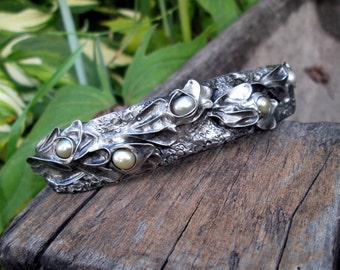 metal  barrette with pearls