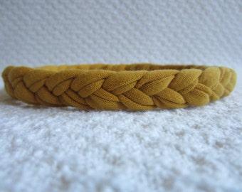 Skinny Braided Headband in Mustard Yellow, Women's Headband, Workout Headband, Woven Headband, Stretchy Knit Headband, Adult Headband,Cloth