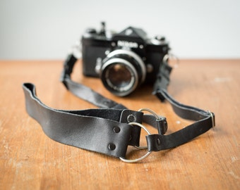 Vintage Black Leather Camera Strap