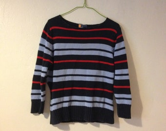 Vintage 90's Thick Knit Multi Stripe Sweater Jumper Navy Long Sleeve Grunge Nautical