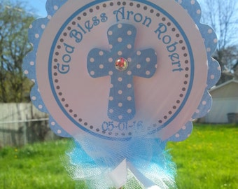 Baptism Centerpiece...God Bless Centerpiece...Dedication...First Communion...Confirmation... Available are matching Banners.