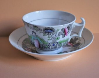 Rare Antique Hilditch Commemorative Porcelain Cup and Saucer/ Black and over-enameled/Royal Figures by Brighton Pavilion