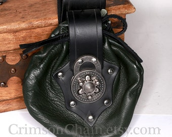 Green leather Bristol pouch by Crimson Chain leatherworks - SCA Larp Renactment Garb Costume