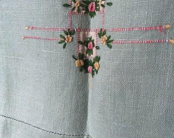 Vintage Linen Embroidered Hand Towel, Pale Minty Green, Delicate Rose Design