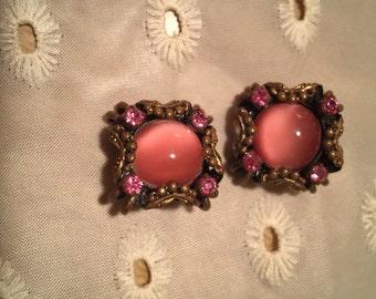 Vintage Pink Glass Moonstone and Pink Rhinestone Earrings