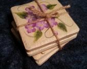 Set of Flowered Coasters