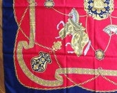 Large square equestrian scarf bold baroque print Versace Hermes inspired red navy gold silky fabric retro avant garde fashion accessory