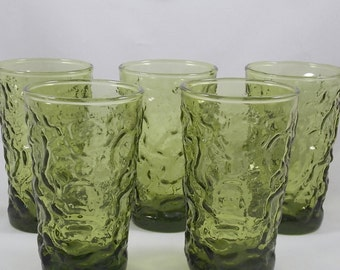 Vintage Anchor Hocking Juice Glasses Lido/Milano Crinkle Texture Pattern ~ Set of Five ~ 4 Ounce Glasses