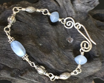 Smokey Glass beads, bali beads, sterling silver, handmade, bracelet!