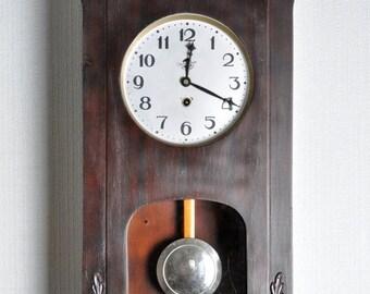SALE - Wall Clock with carved flowers ,pendulum clock ,  Soviet clock ,Working Clock,Russian clock ,Mechanical clock , Vintage Clock