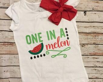 One in a melon watermelon shirt