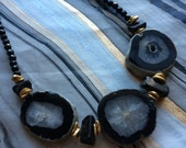 Black and Gold Statement Necklace with Agate, Tourmaline and Onyx