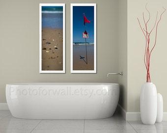 Beach house decor with sand prints, set of 2 prints, beach photography, Bathroom Decor, Bathroom Art/natural large wall art/Wall Decor