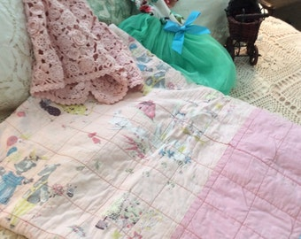 Vintage Quilt  Baby Crib Toddler Bed Size Handmade Enchanting Pinks ~free ship usa~