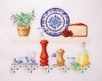 For mother hostess gift kitchen decor cottage chic wall hanging. Shabby chic Embroidered housewarming gift. finished cross stitch blue