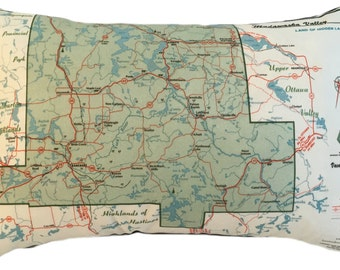 Bancroft Vintage Map Pillow - FREE SHIPPING